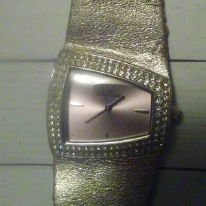 ANNE KLIEN GOLD LEATHER WATCH